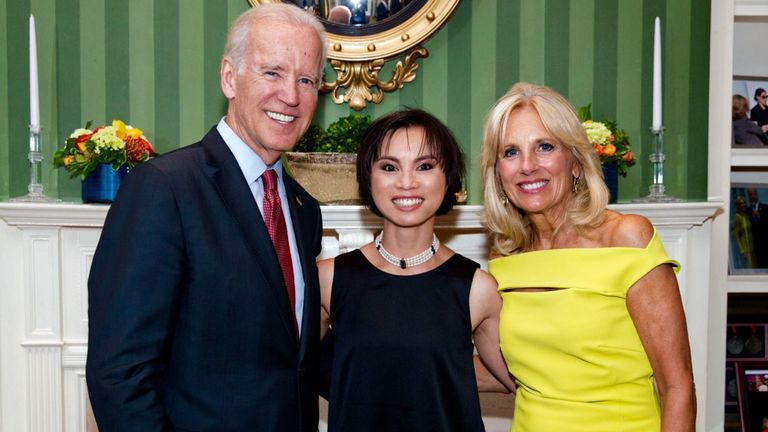 LeThi met then-Vice President Joe Biden and his wife Jill at an official reception in Washington D.C.