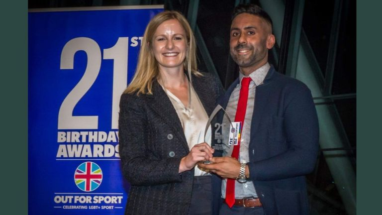 Ubaid-ul Rehman was honoured at the Out For Sport 21st Birthday Awards event at London's City Hall last November