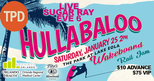 Listen to Sugar Ray and Eve 6 while watching wakeboarders at Lake Eola, January 25 – Bungalower