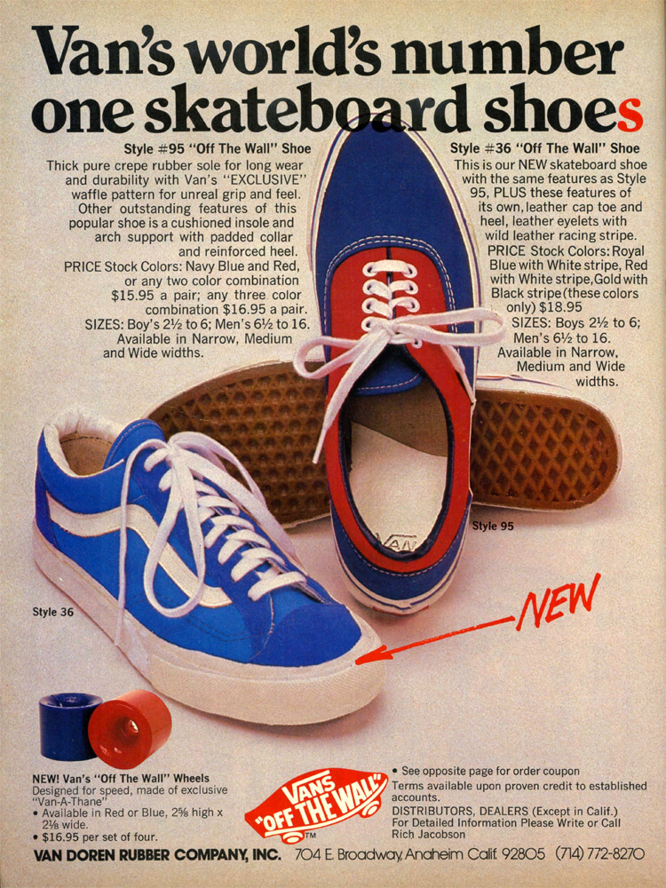 Vans 95 Era: the 1970s ad refers to the product as the world's number one skateboard shoe   Photo: Vans