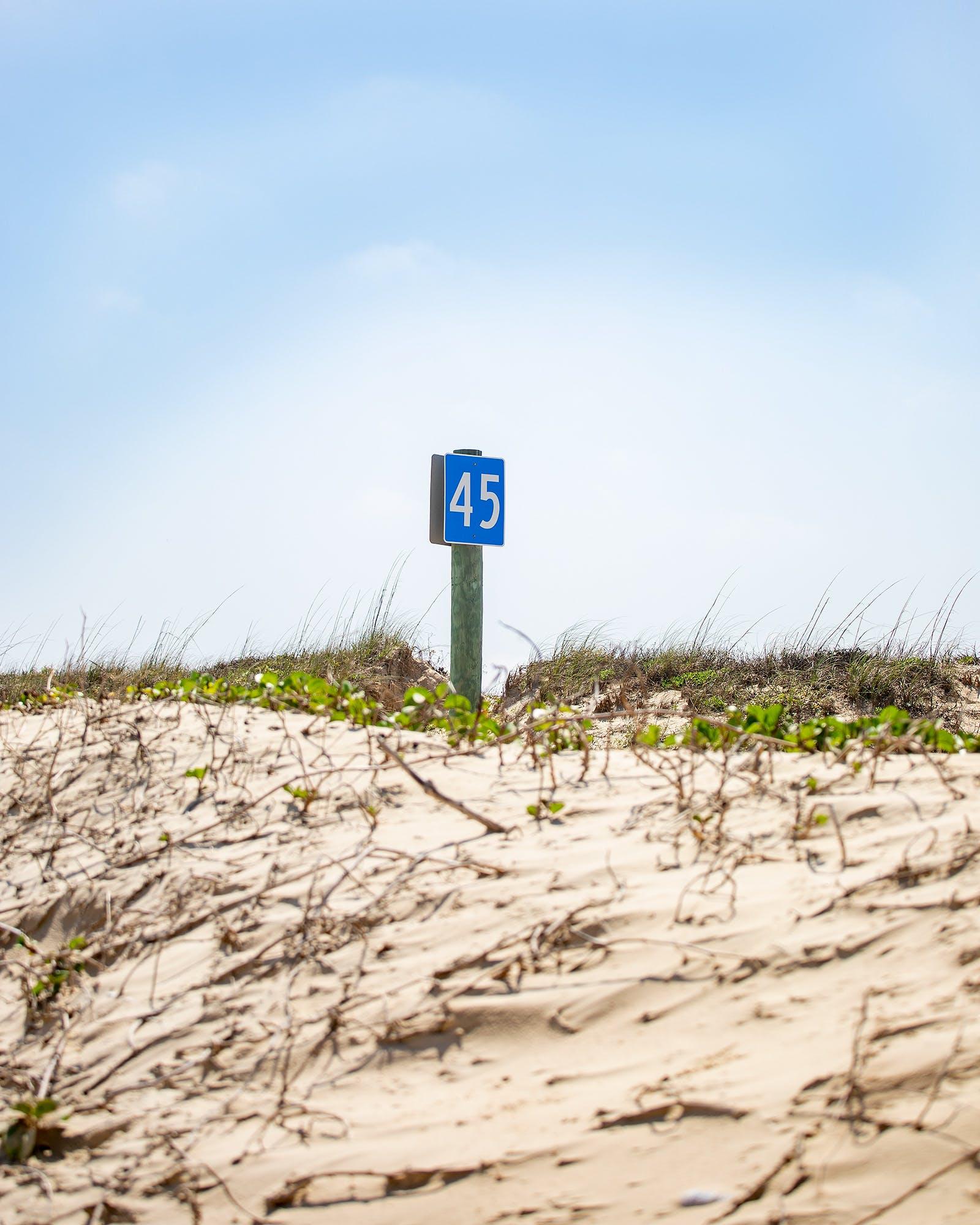 mile marker 45 on Padre Island National Seashore.