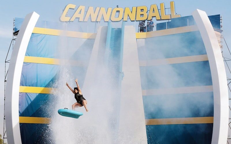 A contestant flies off the end of the megaslide, the centerpiece challenge on Cannonball