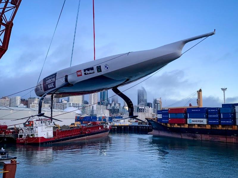Defiant is lowered into Auckland waters for the first time - photo © American Magic