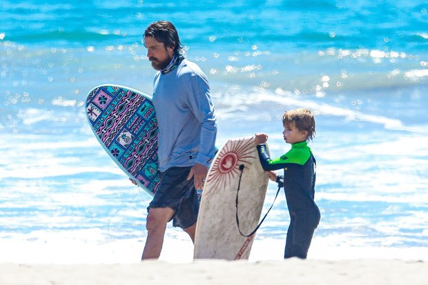 Christian Bale, 46, Has Fun Day With Son Joseph, 5, Bodyboarding At The Beach – HollywoodLife
