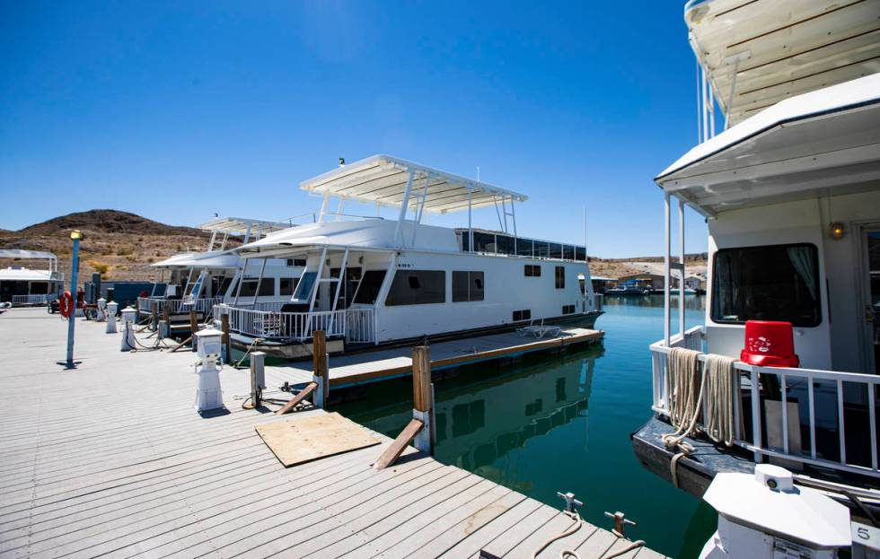 Houseboats at the Callville Bay Marina at Lake Mead National Recreation Area on Wednesday, July ...