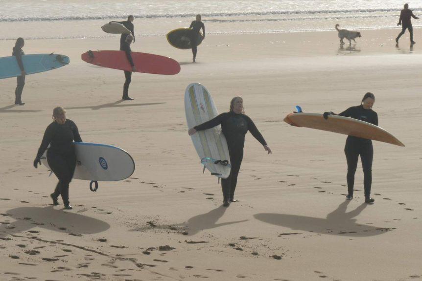 Hemsworth brothers inspire Tasmanian surfer girls' board names, but Layne Beachley still their hero – ABC News