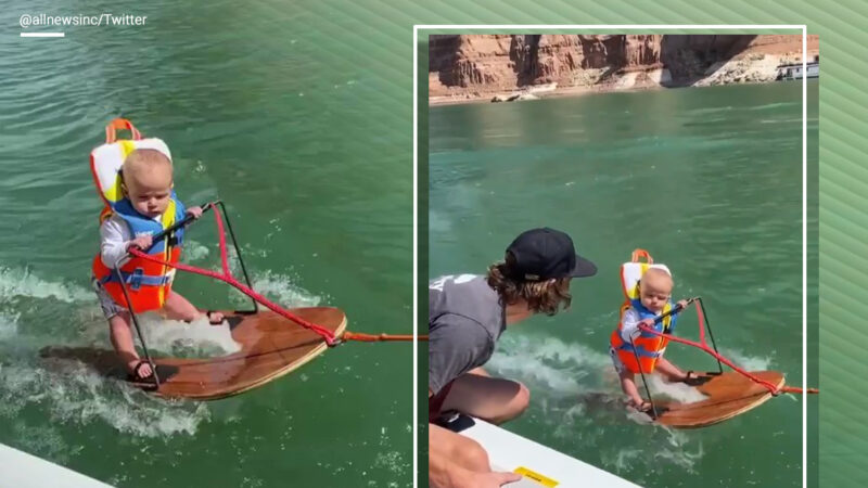 A video of a 6-month-old boy wakeboarding in a lake impresses netizens – The Indian Express