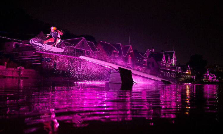 Wakeboarder rides Philadelphia's pink-lit Boathouse Row – SurferToday